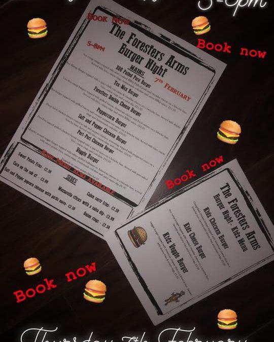 Burger Night – Thursday 7th February 2019