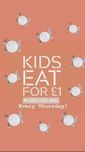 Every Thursday evening Kids eat for only £1!