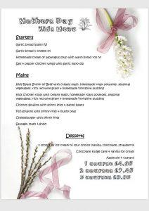 mothers day kid menu