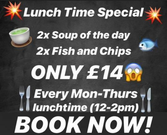 New Lunchtime Special Offer For Two – £14!